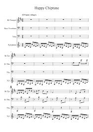 happy trombone sheet music happy chiptune trombone trumpet tuba trio sheet music for