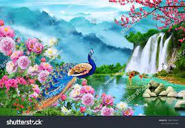 3d Nature Waterfall Wallpaper Stock ...