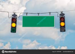 Blank Stop Light Horizontal Shot Two Yellow Traffic Lights Hanging Cable