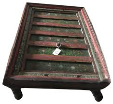consigned fl painted rectangle antique indian coffee table