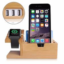 bamboo wood holder charging station desk card case stand charger 3 usb ports hub for iphone