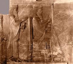 Relief showing Darius I seated, with Xerxes I standing #15096180