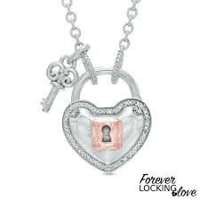 forever locking love 0 10 ct t w diamond heart lock and key necklace in sterling silver and 10k rose gold 32