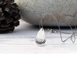 joyelly minimalist silk necklace with a rock crystal briolette tear drop