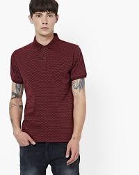 Micro Dot Print Polo T Shirt