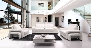 black and white modern living room for elegant and minimalist look with stairs square table white