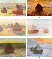 6 examples of monet haystacks painted at diffe times of the day and diffe seasons