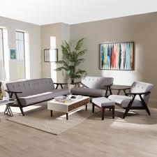 Walnut Living Room Furniture Sets Baxton Studio Enya Mid Century Modern Walnut Wood Grey Fabric 4