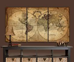 globe tan map world map canvas vintage map set large wall inside newest world map wall on world map wall art with photo frames with 20 best ideas of world map wall art