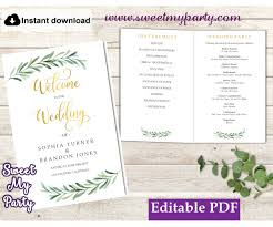 Templates For Wedding Programs Greenery Wedding Program Booklet Template Greenery Wedding Order Of Service Template 78