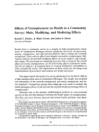 research paper effects of unemployment on health in a community research paper effects of unemployment on health in a community survey main modifying and mediating effects