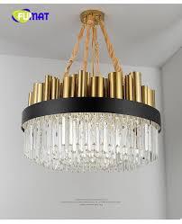 Großhandel Fumat Gold Rund Oder Rechteckig K9 Crystal Edelstahl Led Pendelleuchte Beleuchtung Luxus Lüster Matel Lampe Minimalistischen Post Modern