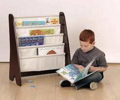 sling bookcase with storage bins