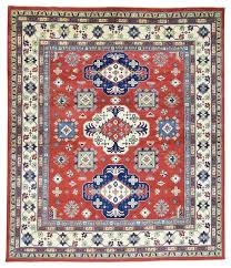 pure wool hand knotted geometric design kazak red oriental rug mediterranean area rugs by 1800 get a rug