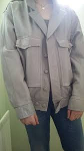 mens small light grey leather look jacket