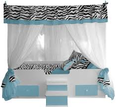 Zebra Canopy Bed WITH Bedding Blue