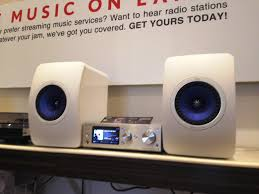 kef ls50 white. kef ls50 in white and sony haps1 silver at monaco av stereo hifi home theater store kef ls50 l
