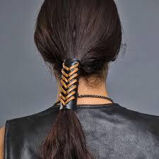 hair glove 4 black leather ponytail holder w brown v lace