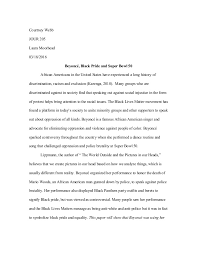 journalism essay  journalism essay 1 courtney webb jour 205 laura moorhead 03 18 2016 beyonce black pride and
