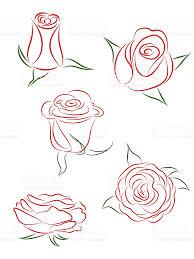 A Set Of Five Buds Of Roses Vector Illustration Illustrations