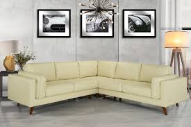 details about mid century modern tufted real leather sectional sofa w wooden legs beige