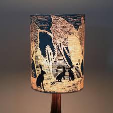 handmade designer lampshade blue night brown hares
