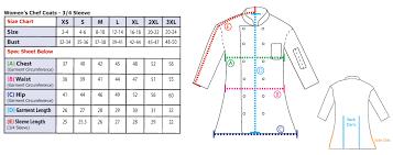 Chef Jacket Size Chart 44 Credible White Coat Size Chart Women
