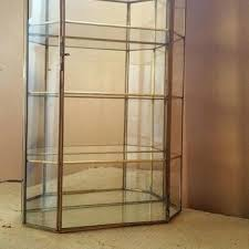 large vintage brass and glass curio cabinet miniatures wall hanging display case cases collectibles