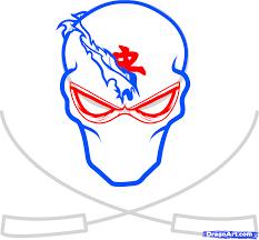 как нарисовать татуировку лицо ниндзя с двумя мечами карандашом