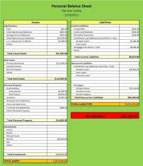 Simple Personal Balance Sheet Example Best Photos Of Excel Personal Balance Sheets Templates