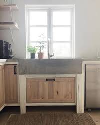Dark Gray Concrete Counter  With Light Contrasting Base In Tan Concrete Sink Kitchen