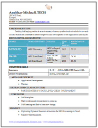 Resume Sample For Engineering Freshers