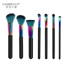 2017 new brand 7pcs colourful makeup brush professional real wood imported fiber wool powder blush eyeshadow