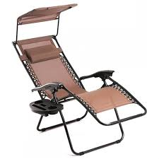 New Brown Zero Gravity Chair Lounge Patio Chairs Outdoor with Canopy Cup Holder H043 0 Factory Direct: