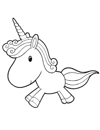 Cute Baby Unicorn Running Free Coloring Page For Preschoolers Con