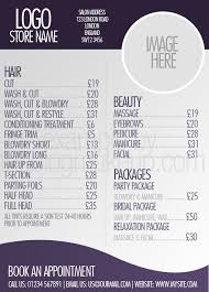beautifully designed menus and lists for salons hairdresser list hair salon list