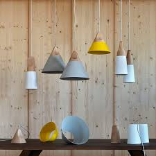 pendant lamp contemporary metal solid wood slope by skrivo design
