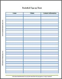Free Printable Basketball Sign Up Sheet Student Handouts