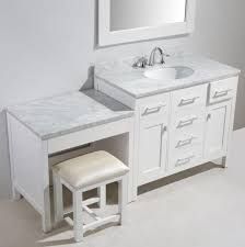 72 keywest single sink vanity complete with makeup dresser table knee drawer bench wall mirrors and natural imported carrara white marble stone top