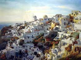 beautiful sunrise in santorini greece