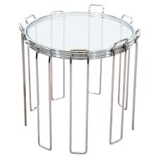 vintage modern chrome and glass nesting tables circa 1960s for