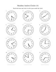Excel : Analog Clock Worksheets Free Library Download And ...