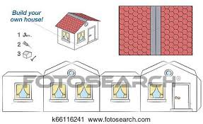 House Paper Model White Walls Red Roof Template Clipart