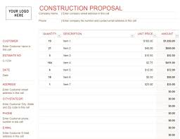 Construction Bid Template Free Microsoft Office Construction Proposal