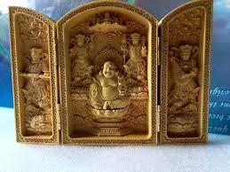 <b>Oriental Vintage</b> Boxwood <b>Handwork Carved</b> Buddha Statue ...