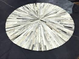 grey circle area rug white beige round cowhide fur skin handmade patchwork sewing natural color