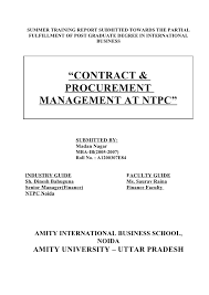Purchasing Contracts Templates Contract Procurement Management Report Of Ntpc