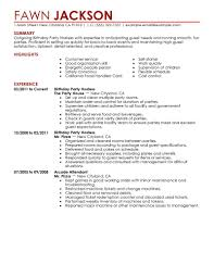 Sample Hostess Resume Templates Memberpro Co Party Birthday Host