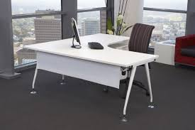 image of white l shaped desk design with chair