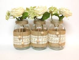 Decorating With Mason Jars And Burlap mason jar burlap wedding centerpieces with white roses iPunya 2